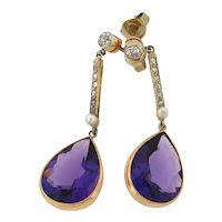 Pair Of Original Art Deco Amethyst Diamonds Dangle Earrings Plat 18k Gold