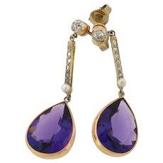 Pair Of Original Art Deco Amethyst Diamonds Dangle Earrings Plat 18k Gold