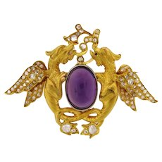Antique Art Nouveau Double Griffin Amethyst Rose Cut Diamond 18K Gold Brooch