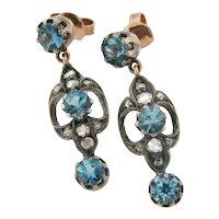 Antique Victorian Aqua Marine Rose Cut Diamond Silver 18K Gold Earrings