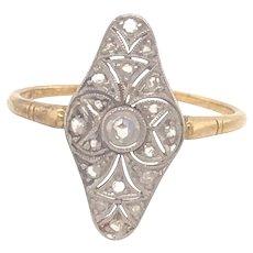 Original Art Deco Filigree Rose Cut Diamonds Platinum 18k Yellow Gold Ring.