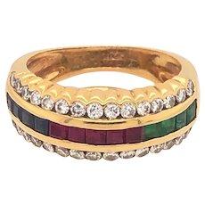 Vintage Retro Emeralds Rubies Sapphires Diamonds 14K Yellow Gold Ring
