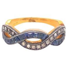 Antique Rose Cut Diamonds Sapphires 15K Yellow Gold Ring