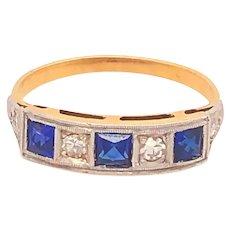 Original Art Deco Sapphires Diamonds Platinum 18K Yellow Gold Ring