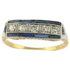 Art Deco 5 Diamond Sapphires Platinum 18k Yellow Gold Ring