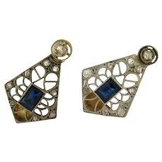 Antique Edwardian Sapphire Diamond Platinum 18K Gold Filigree Earrings