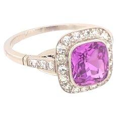 Vintage 2.22 Natural Pink Sapphire Diamond Platinum Ring