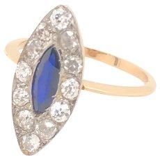 Original Art Deco Marquise Shape Diamond Sapphire 18K Gold Ring
