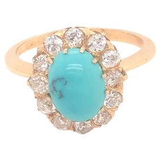 Antique Turquoise Old Mine Cut Diamonds 18K Yellow Gold Ring