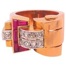 Vintage Retro Ruby Diamonds Rose Gold 18K Buckle Design Ring