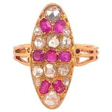Antique Edwardian Rose Cut Diamonds Rubies 18K Gold Ring
