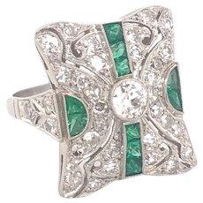 Vintage Filigree Diamonds Emeralds Platinum Ring
