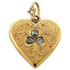 Antique Art Nouveau Heart Three Leaf Clover Diamond 18k Yellow Gold Pendant