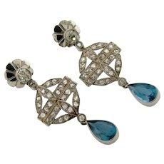 Original Art Deco Diamonds Aquamarine Filigree Platinum Earrings