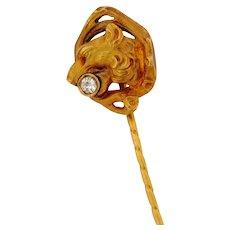 Antique Art Nouveau Lion Old Mine Cut Diamond 18K Yellow Gold Stick Pin