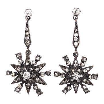 Antique Diamond Starburst Silver Gold Earrings 2.54 Carats