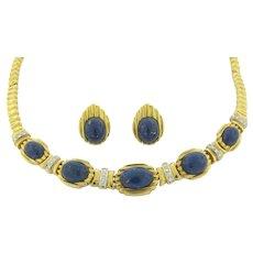 Vintage Designer R. Stone Lapis Diamond Necklace Earring Set 18K Yellow Gold 65g