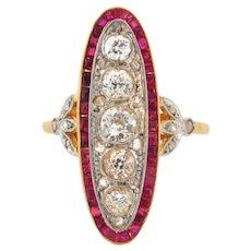 Stunning Original French Art Deco Rubies Diamonds Plat 18K Yellow Gold Ring