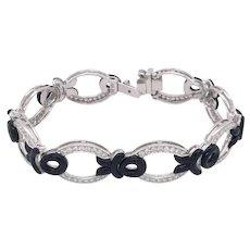 Designer Eli Frei Diamond Onyx 18K White Gold Bracelet