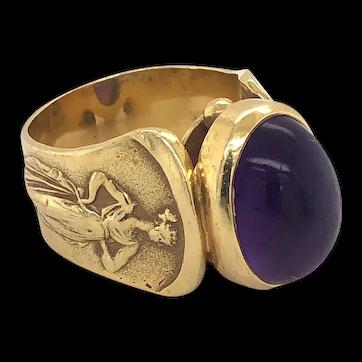 Antique Greek Mythology Design Cabochon Amethyst 18K Gold Ring