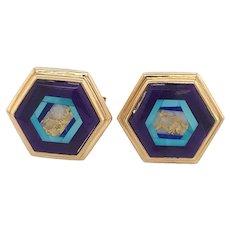Nicolai Medvedev Geometric Gemstone Intarsia 18K Gold Cufflinks