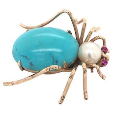 Large Antique Insect Brooch With Turquoise Pearl Ruby Eyes 14k Rose Gold