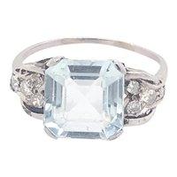 Original Art Deco Aquamarine Diamond 14K White Gold Ring