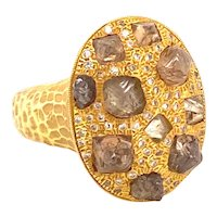 Designer Signed 2.9 Carats Fancy Color Diamonds 18K Yellow Gold Ring