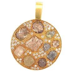 Designer Signed 3.26 Carats Fancy Color Raw Diamonds 18K Gold Pendant