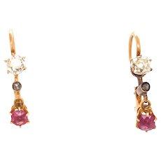 Edwardian Old Mine Cut Diamond Ruby 18k Gold Dangle Earrings