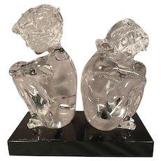 Loredano Rosin Murano Italian Art Glass Statue Of Seated Figures