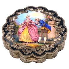 Antique Austrian Enamel Sterling Silver Box With Scene Of Two Lovers