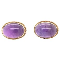 Vintage Cabochon Amethyst 14K Yellow Gold Earrings Studs