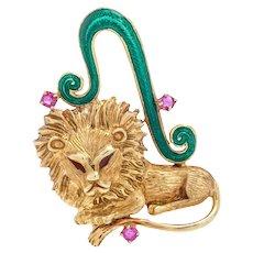 Vintage Martine Leo Lion Enamel Ruby 14K Yellow Gold Brooch