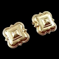 Vintage 14K Gold Rounded Square Earrings