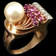 Vintage Retro 14K Rose Gold Ring with Rubies, Diamonds and Cultured Pearl