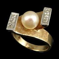 Vintage14K Gold Retro Pearl Diamond Ring