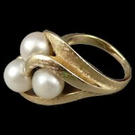 Vintage 14K Gold Asymmetrical Pearl Ring