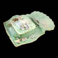 Antique T And V Limoges Sardine Box and Tray - Artist Signed