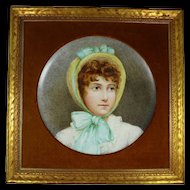 Vintage Framed Hand Painted Porcelain Portrait Charger of Girl