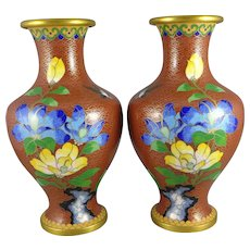 Vintage Pair of Chinese Cloisonne Vases