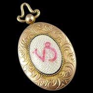 Antique Victorian 10K Rose Gold Enamel Locket - Capricorn Zodiac Symbol