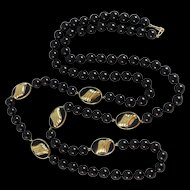 Vintage 14K Gold Black Onyx Necklace - Opera Length