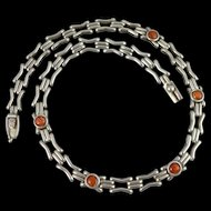 Vintage 950 Sterling Silver Red Agate Necklace Collar Choker