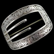 Antique Victorian Sterling Silver Sash Pin / Buckle Brooch by William Kerr Co.