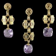 Antique European 14K Gold Amethyst Demi-Parure Earring and Pendant Set