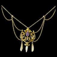 Antique Art Nouveau 10K Amethyst and Natural Pearl Festoon Necklace