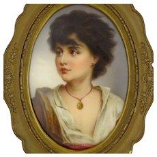 Antique Porcelain Portrait Miniature Of A Young Neapolitan - After Gustav Karl Richter