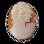 Vintage Sterling Silver Shell Cameo c. 1940's