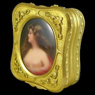 Antique Gilded Trinket Box With Hand Painted Portrait of a Maiden - Signed